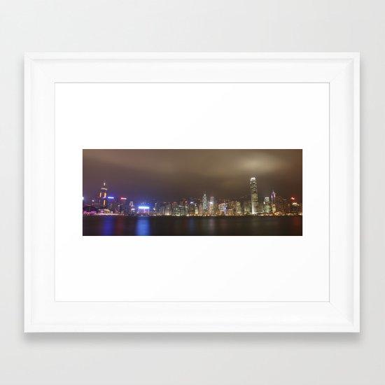 hong kong nightscape Framed Art Print