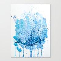 Watercolor Whale Canvas Print