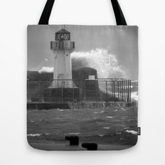 Ardrossan Lighthouse Versus the Sea Tote Bag
