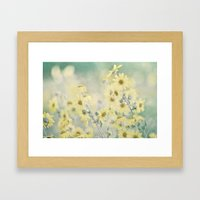 Pastel Wildflowers Yellow Helianthus Daisies -- Botanical Landscape Framed Art Print