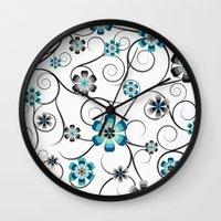 Winter Flowers Wall Clock