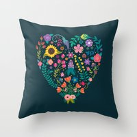 Floral Heart Throw Pillow