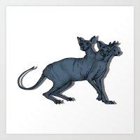 Feline Cerberus in the Night Art Print