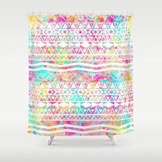 Aztec Splash | White Tribal Abstract Aztec Neon Rainbow Splatters Shower Curtain