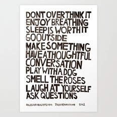 Rules for Healthy Living Art Print