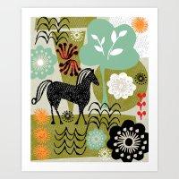 magical horse garden Art Print