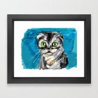Scottish Fold Cat Framed Art Print
