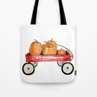 Tote Bag featuring Red Wagon Watercolor  by Craftberrybush