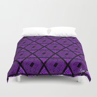 Kagome Greek Fret ... Purple Duvet Cover