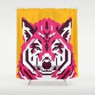 Shower Curtain featuring Geometric Wolf by Roland Banrevi