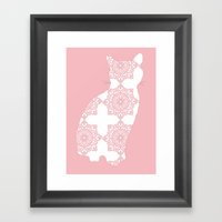 Pink Floral Cat Framed Art Print