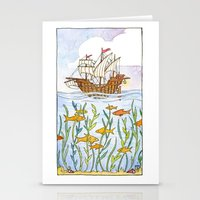 Ship and Sea Stationery Cards