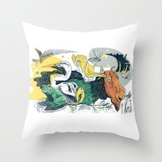 Animals in Nature Throw Pillow