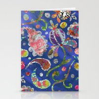 Blue Paisley Collage Stationery Cards