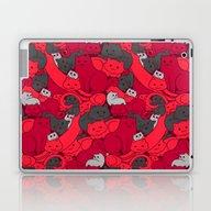 Purrrfect Pattern (Red) Laptop & iPad Skin