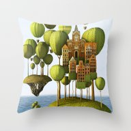Throw Pillow featuring City In The Sky by Teodoru Badiu