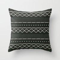 Mudcloth in bone on black Throw Pillow