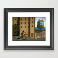 A Green And Blue House Framed Art Print