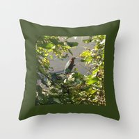 Throw Pillow featuring Green Heron by Rogue Crafter