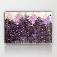NORTHWEST VIBES Colorful Watercolor Painting Forest Trees Violet Green Modern Nature Art West Coast  Laptop & iPad Skin