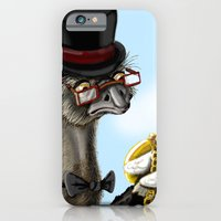 iPhone & iPod Case featuring The Fancy Ostrich by awkwardyeti