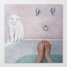 bath with a white cat Canvas Print