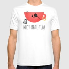 Ahoy Mate-tea! SMALL White Mens Fitted Tee