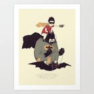 To The Batmobile! Art Print