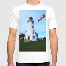 Lighthouse Panmure Island White Mens Fitted Tee SMALL