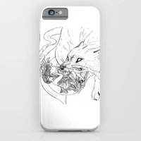 iPhone Cases featuring Sun Goddess chased by the wolf by Jessica Bowman Illustrates