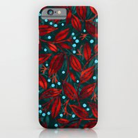 BLUE BERRIES RED LEAVES iPhone 6 Slim Case