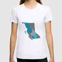 British Columbia Map Print Womens Fitted Tee Ash Grey SMALL