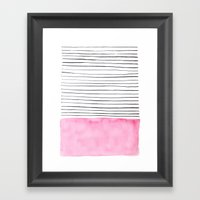 Stripes And Pink Waterco… Framed Art Print