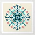 Watercolor Lotus Mandala in Teal & Salmon Pink Art Print