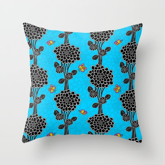 """Flowered tree""  in blue. Throw Pillow"