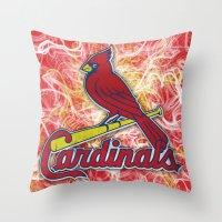 STL Cardinals swirl Throw Pillow
