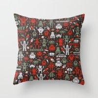 Vintage Robots Throw Pillow