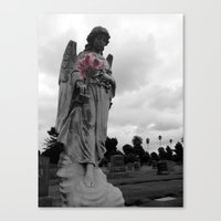 Angel Holding Flowers Canvas Print