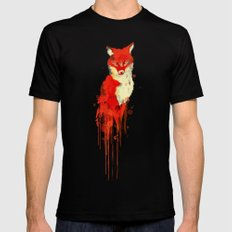 The fox, the forest spirit SMALL Black Mens Fitted Tee