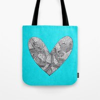 Patterned Heart Tote Bag