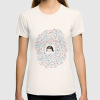 she mostly dreams in cats  Womens Fitted Tee Natural SMALL