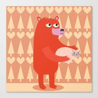 Bear and cat BFF Canvas Print