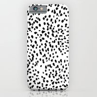 iPhone Cases featuring Nadia - Black and White, Animal Print, Dalmatian Spot, Spots, Dots, BW by CharlotteWinter