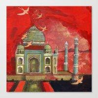 Taj Mahal In Pink Canvas Print