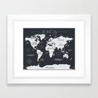Nautical World Map Framed Art Print