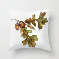 October - Oak Leaves Wat… Throw Pillow