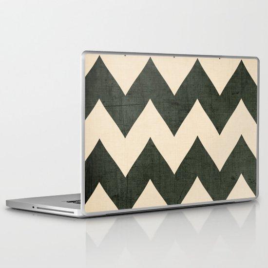 Vintage Vinyl - Black Chevron  Laptop & iPad Skin