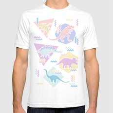 Nineties Dinosaurs Pattern  - Pastel version Mens Fitted Tee White SMALL