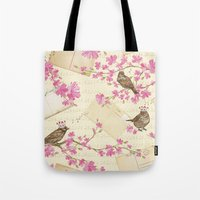 Love Letters - Cute Sparrows And Cherry Blossoms Illustration Tote Bag