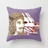 Triple She Wolf Throw Pillow